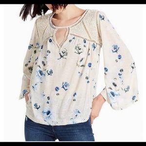 Lucky Brand blue floral linen lace bellsleeve top